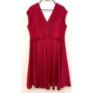 Lane Bryants Red Magenta Eyelet Wrap Dress 22